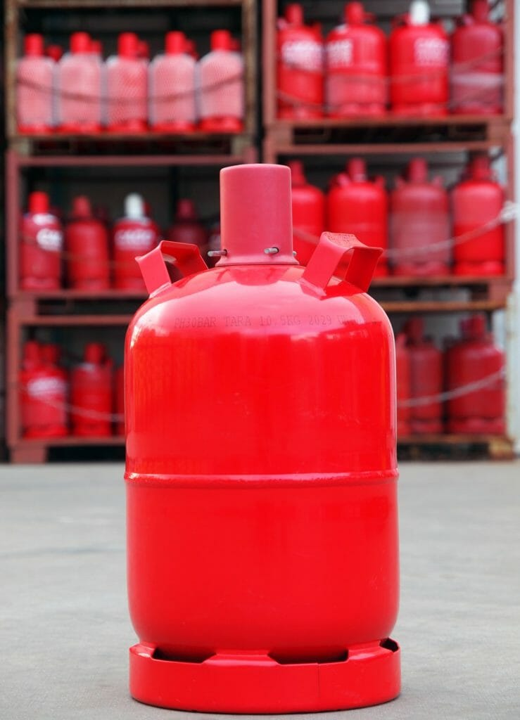 Rote Gasflasche
