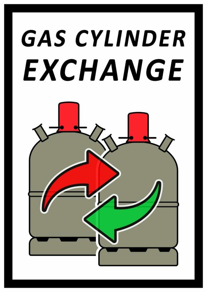 Logo Gasflaschen tauschen mit Pfeilen