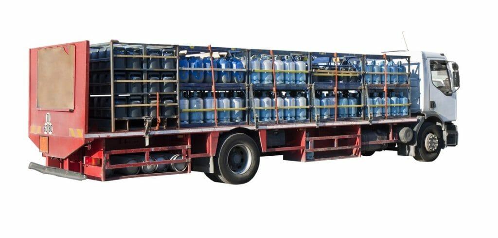 Gasflaschenlieferung per LKW