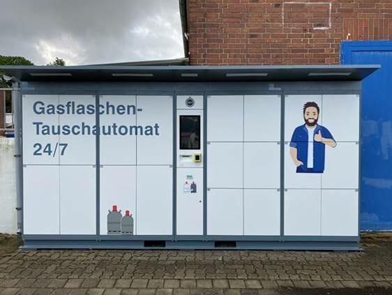 Gasflaschenautomat mit Türen in weiß